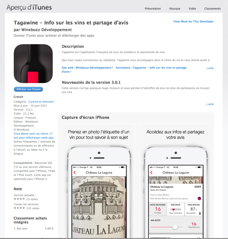 Tagawine sur AppsStore